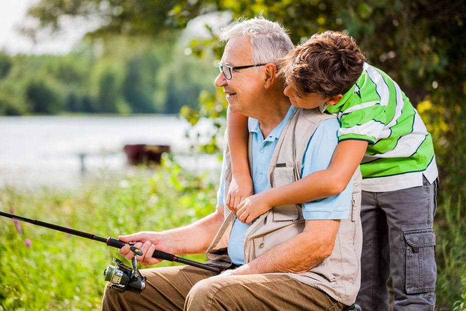 Senior fishing with Grandson